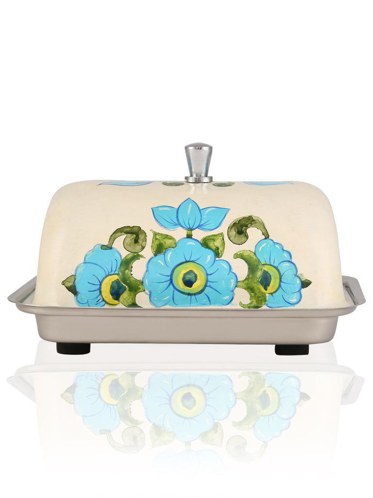 Off White Blue Hand Painted Steel Butter Dish