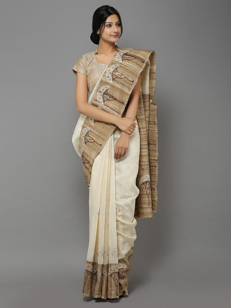 Off White-Brown Handwoven Banarasi Saree