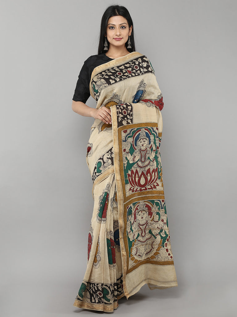 Off White Chanderi Hand Painted Kalamkari Saree