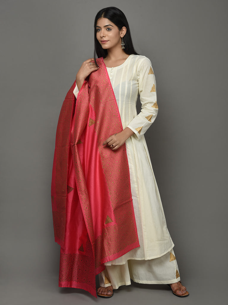 Off White Red Cotton Anarkali Suit  - Set of 3