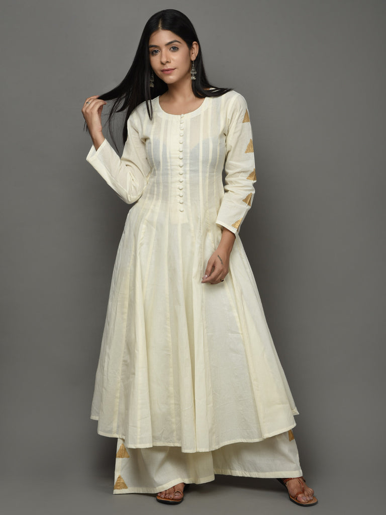 Off White Cotton Triangle Anarkali Kurta