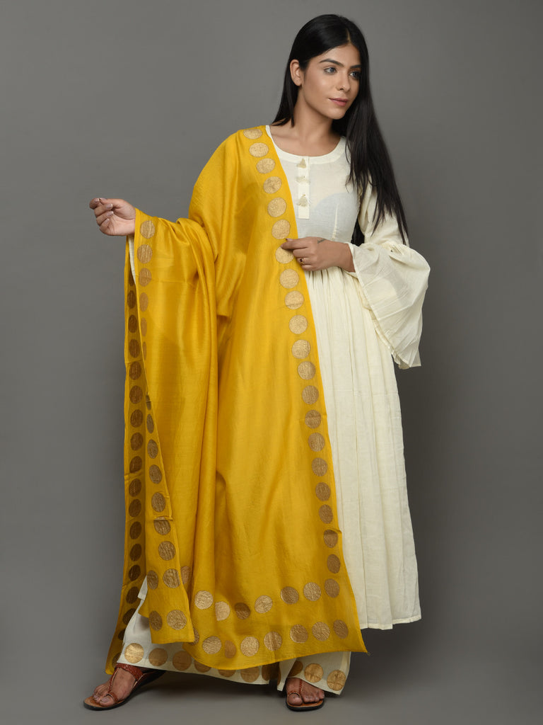 Off White Yellow Cotton Anarkali Suit  - Set of 3