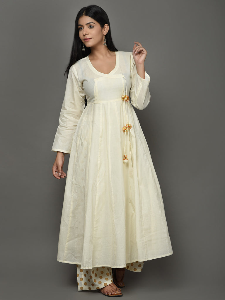Off White Cotton Angrakha Anarkali Kurta