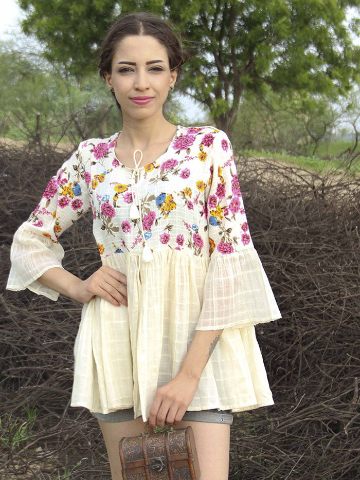 Off White Cotton Floral Frill Bell Top