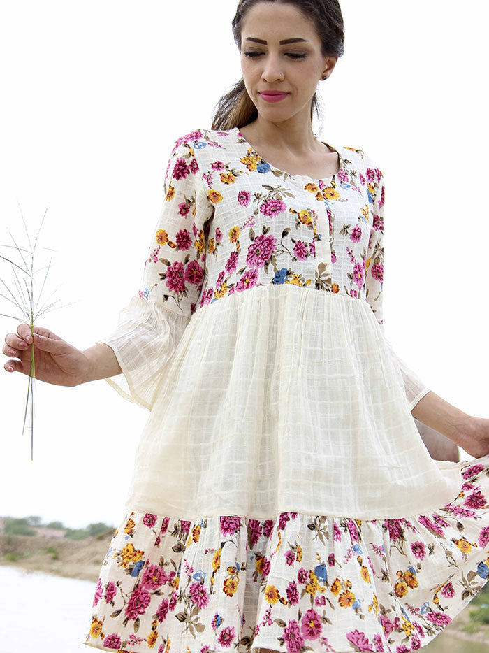 Off White Cotton Frill Dress