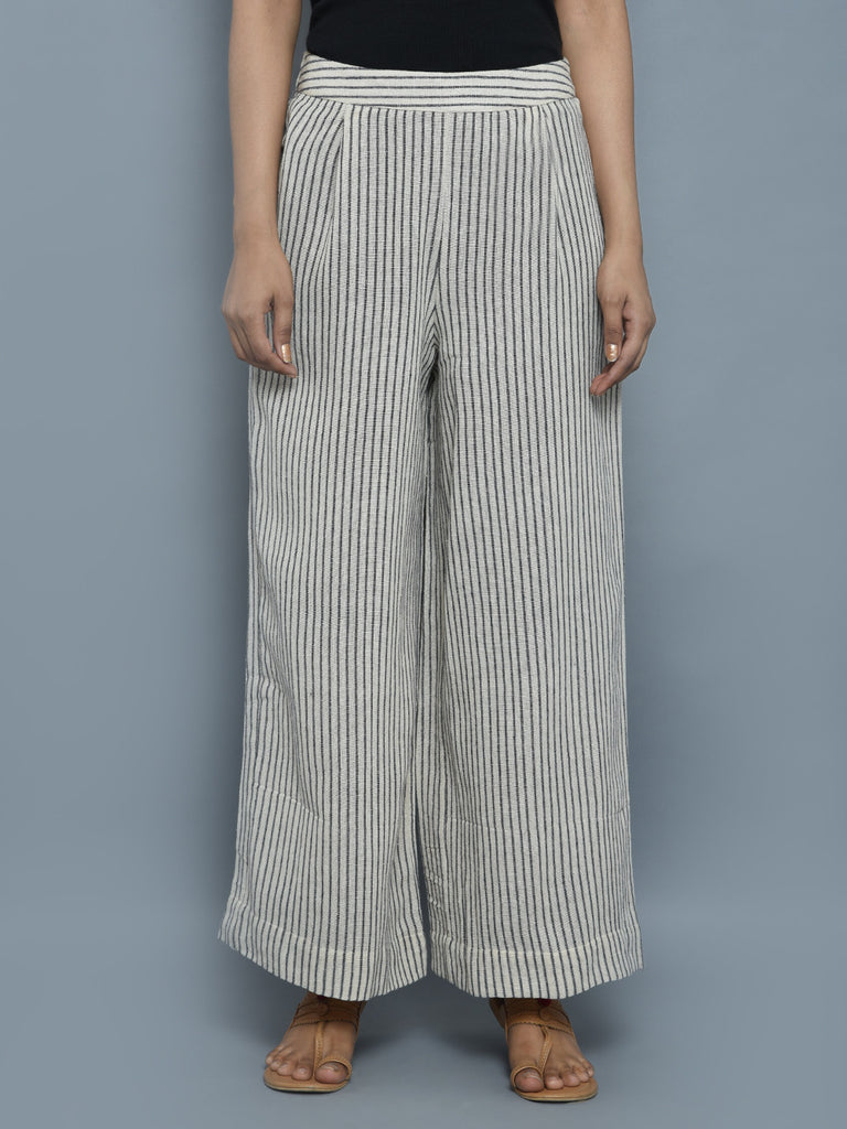 Off White Cotton Jute Striped  Pants