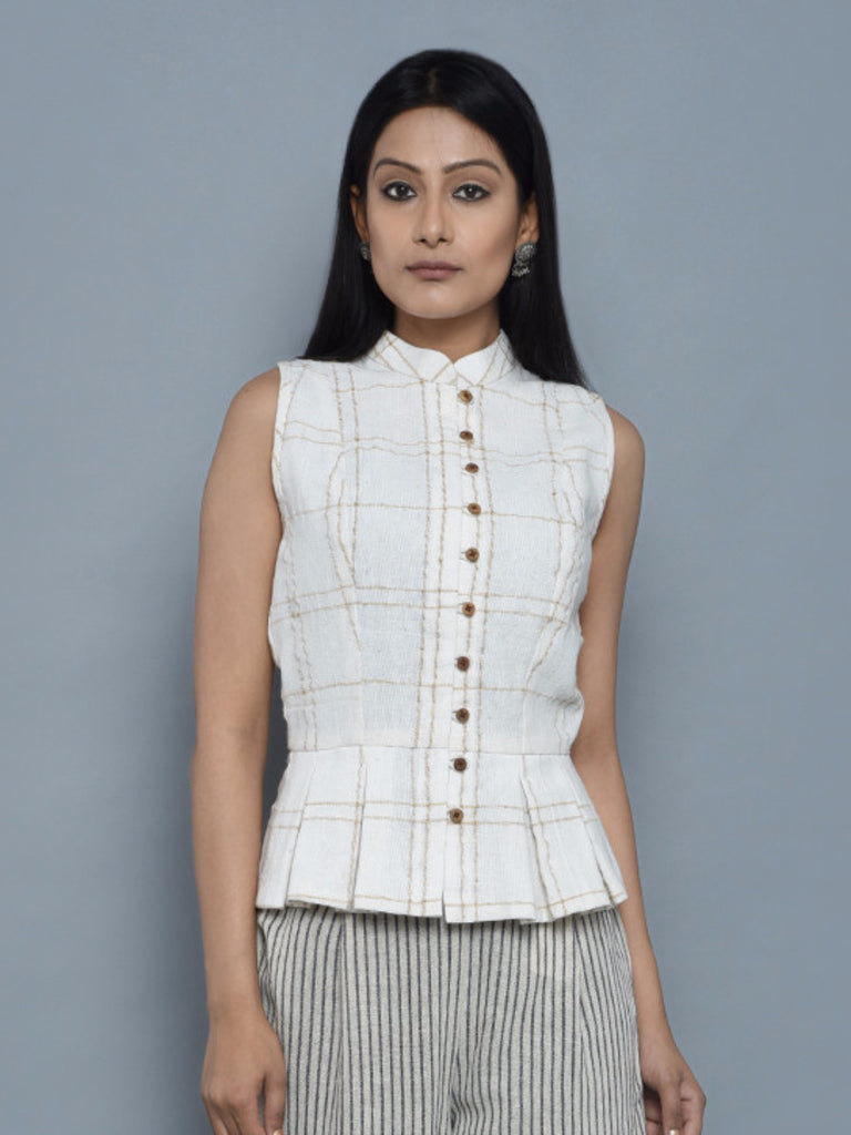Off White Cotton Peplum Jacket