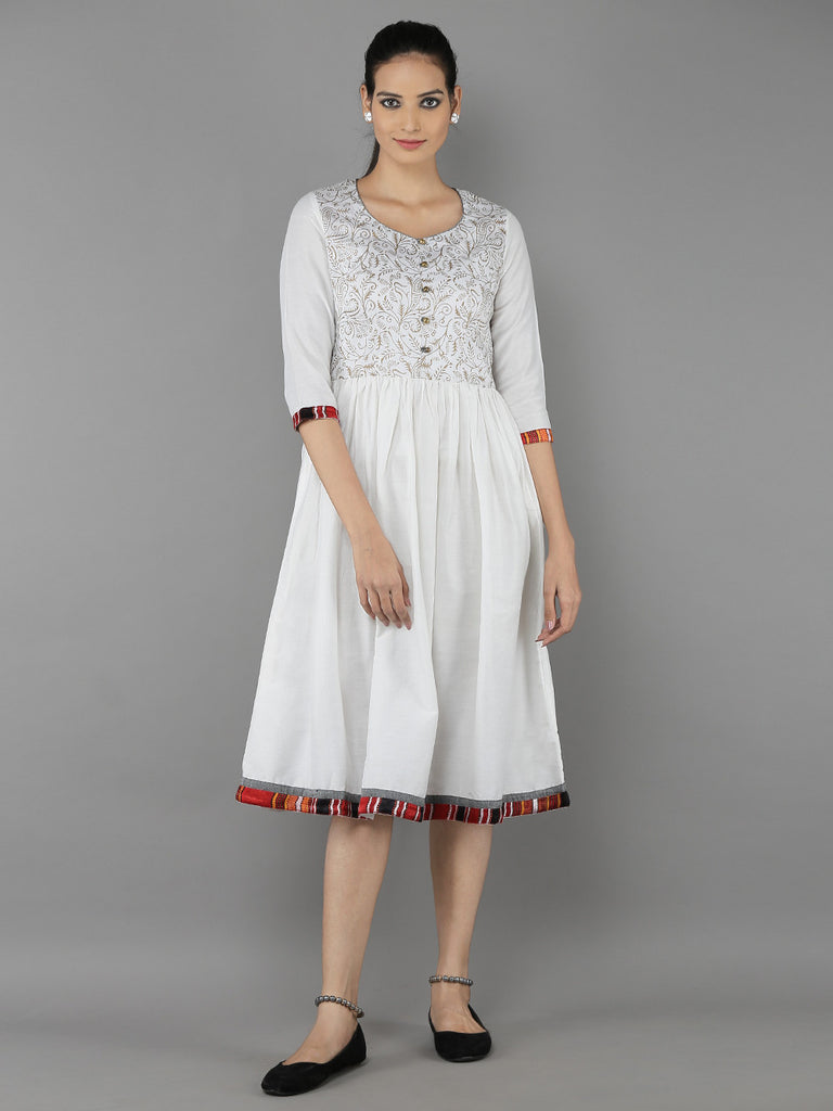 Off White Cotton Silk Dress
