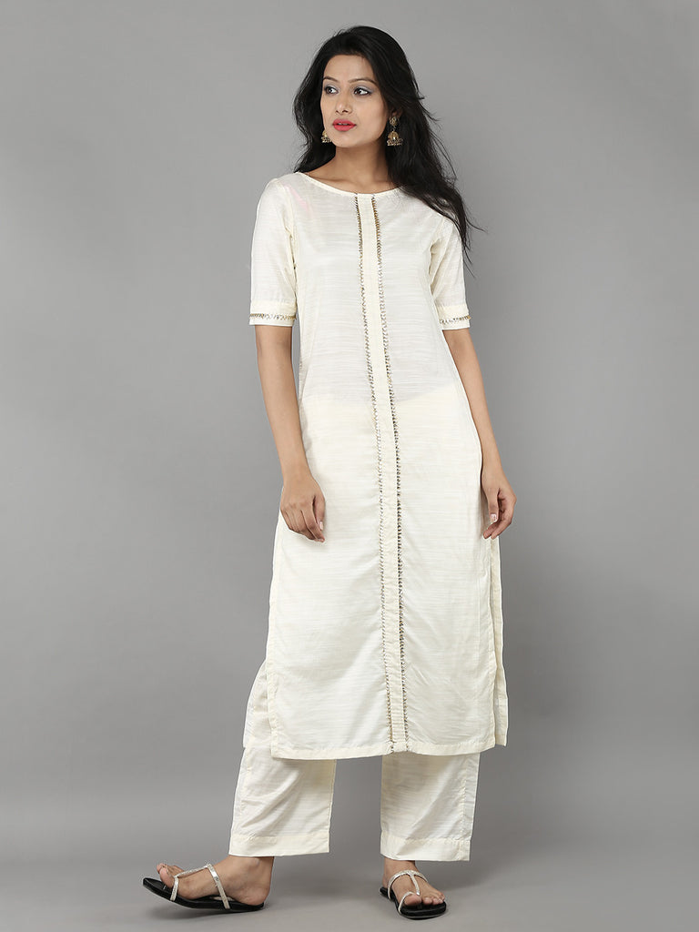 Off White Cotton Silk Kurta with Pants - Set of 2