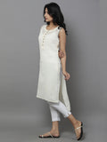 Off White Cotton Straight Kurta