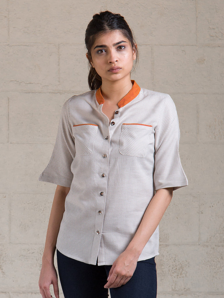 Grey Orange Cotton Top