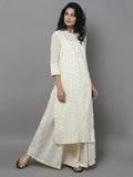 Off White Cotton Zari Kurta