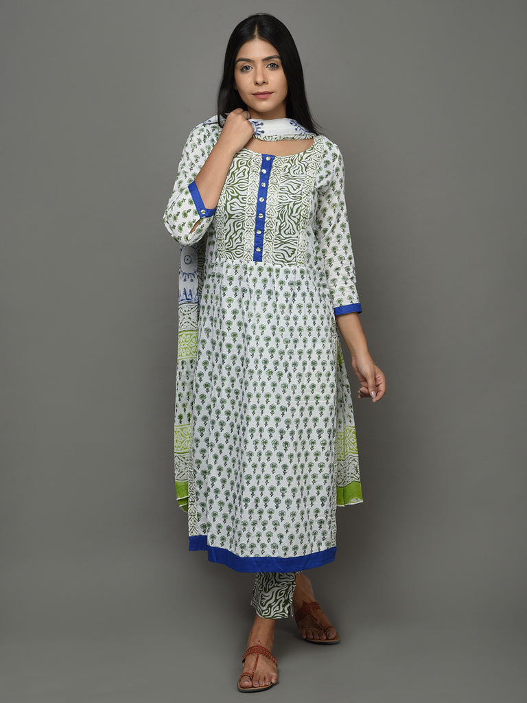 Off White Green Hand Block Printed Cotton Kurta with Pants and Chiffon Dupatta - Set of 3