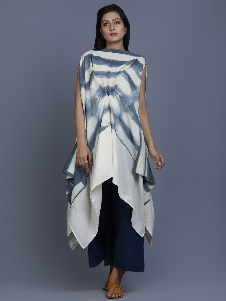 Off White Grey Cotton Shibori Dye Top