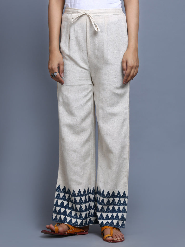 Off White Indigo Khadi Hand Block Printed Pants
