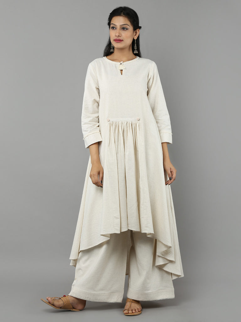 Off White Khadi Kurta with Palazzo - Set of 2