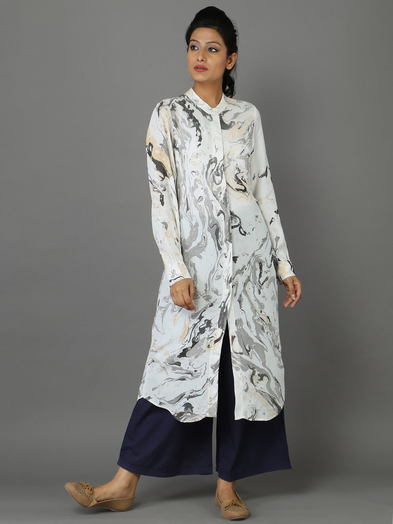Off White Moss Crepe Tunic