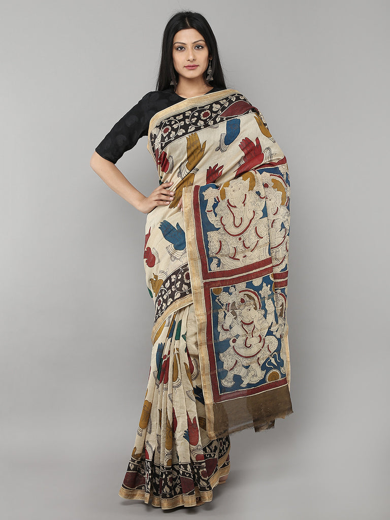 Off White Multi Color Chanderi Kalamkari Saree