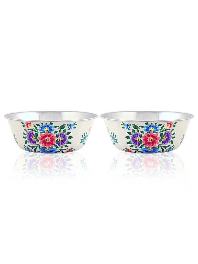 Off White Floral Hand Painted Steel Bowls - Set of 2