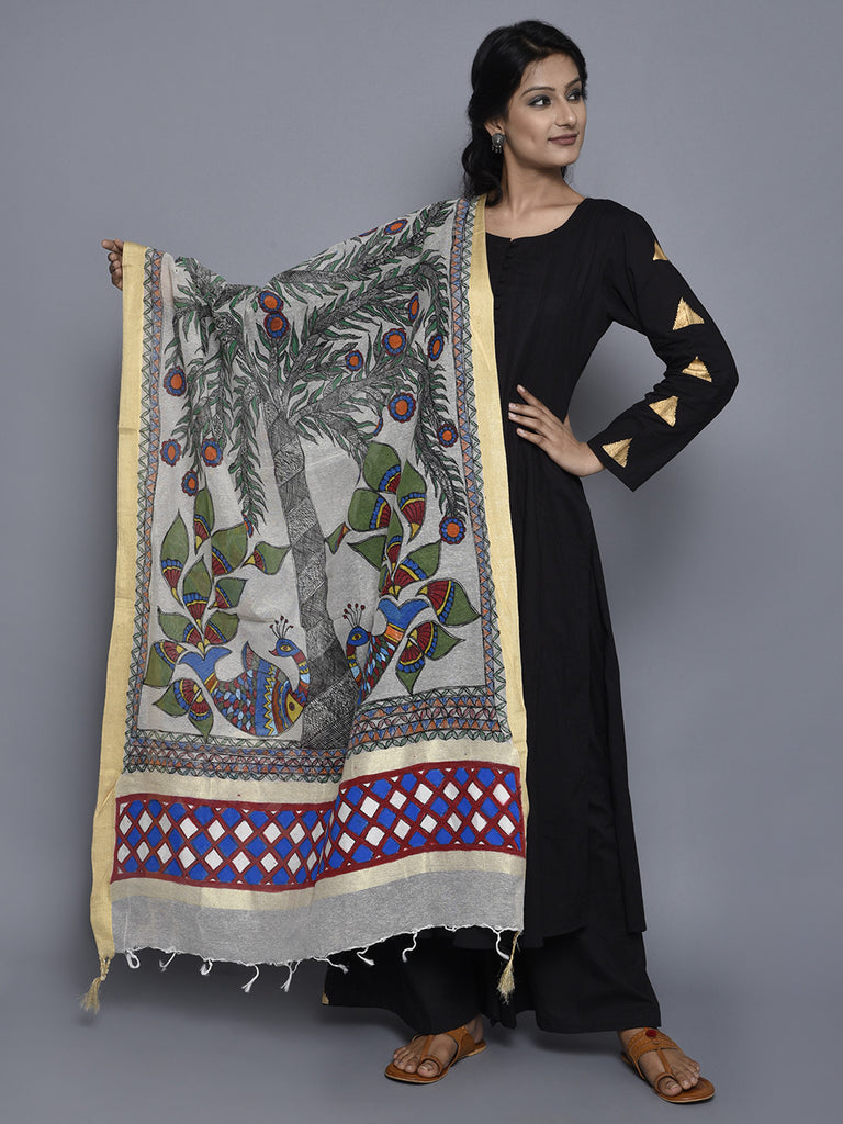 Off White Multi Color Jute Cotton Hand Painted Madhubani Dupatta
