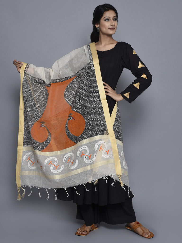 Off White Orange Black Jute Cotton Hand Painted Madhubani Dupatta