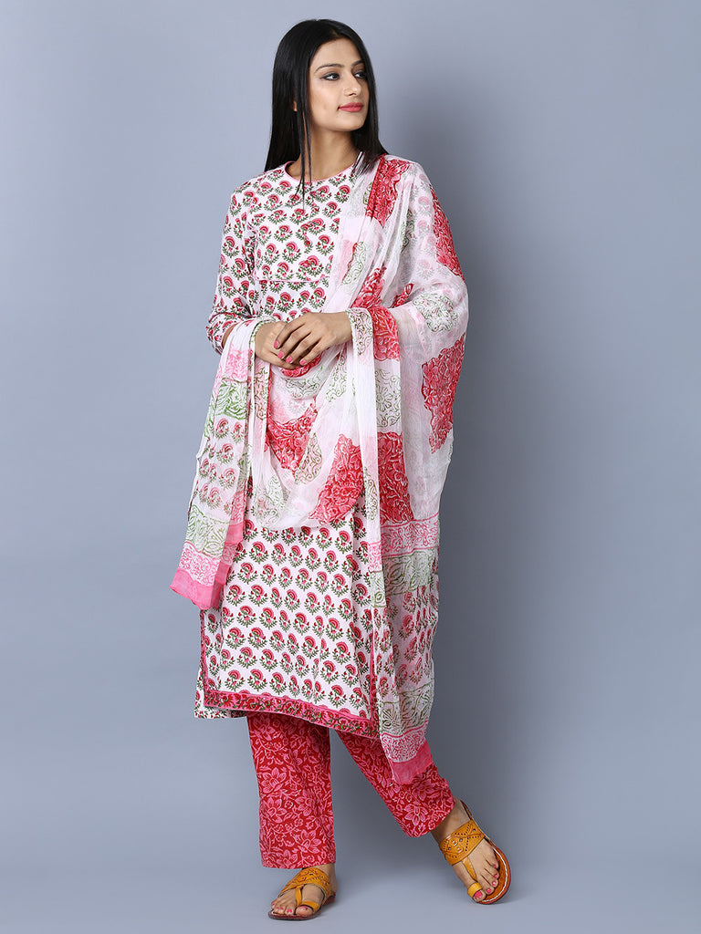 Off White Pink Cotton Hand Block Kurta and Pants with Chiffon Dupatta - Set of 3