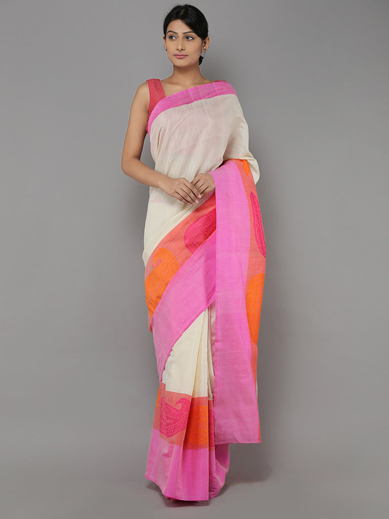 Off White Pink Handwoven Banarasi Cotton Saree