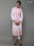Off White Pink Lucknowi Hand Emroidered Cotton Kurta