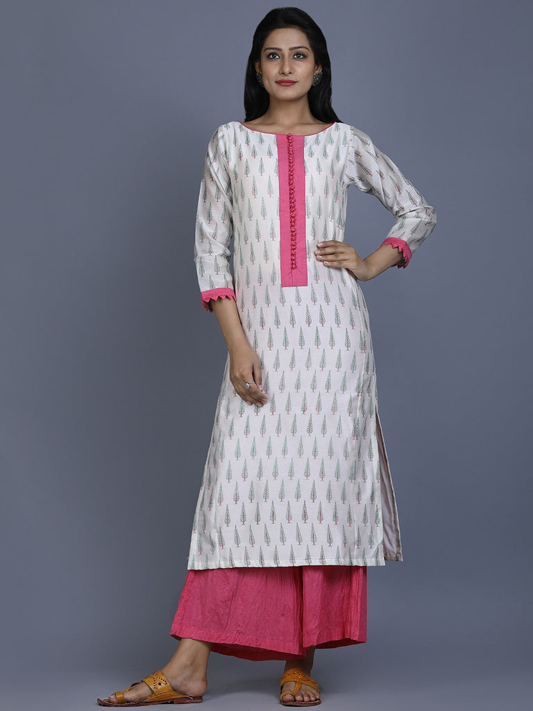 Off White Pink Mughal Printed Chanderi Kurta