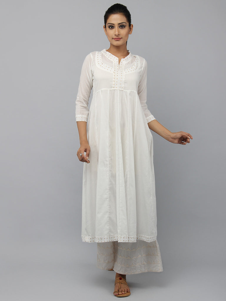 Off White Cotton Rajasthani Neckline Kurta
