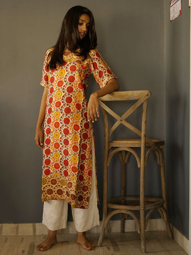Off White Red Banarasi Cotton Silk Tropical Kurta