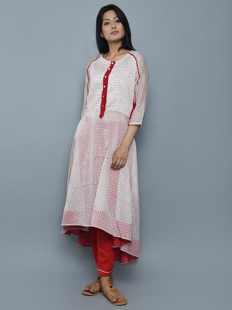 Off White Red Chanderi Block Printed Kurta