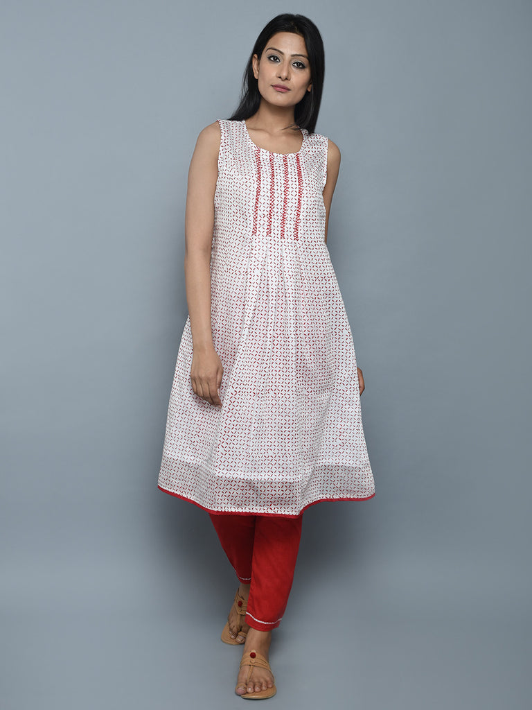 Off White Red Hand Embroidered Chanderi Kurta
