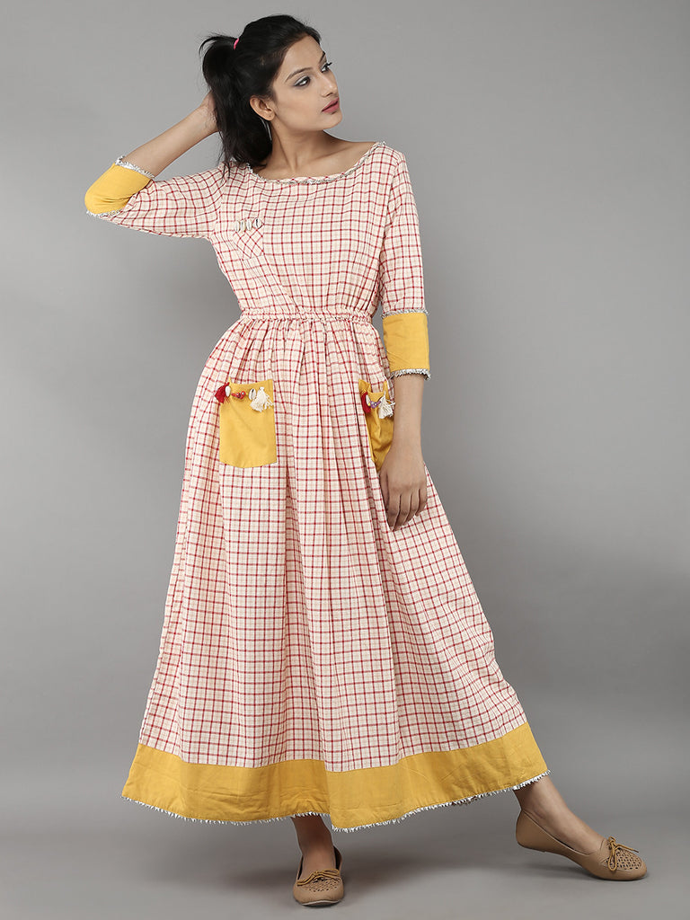 Off White Red Handloom Cotton Dress