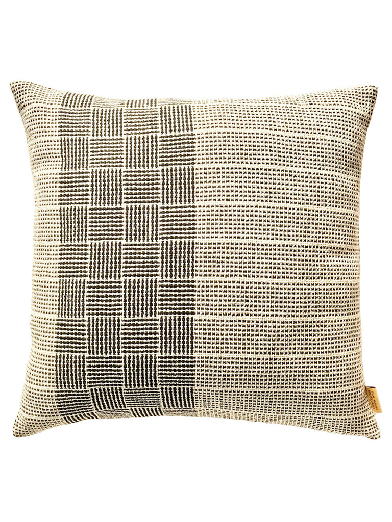 Off White Shaded Check Cotton Cushion Cover