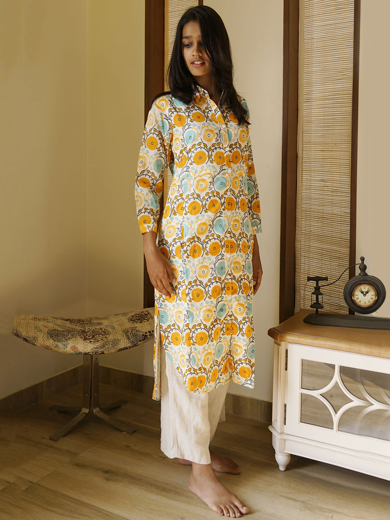 Off White Yellow Floral Print Chanderi Shirt Kurta