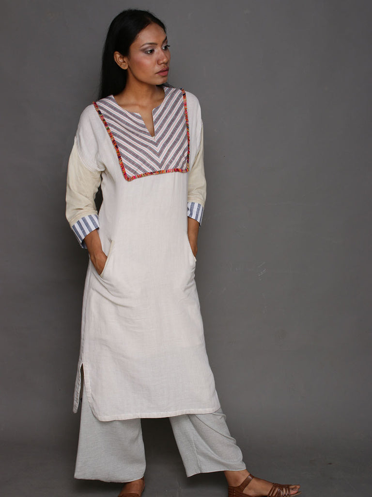 Off White Cotton Folk Tunic