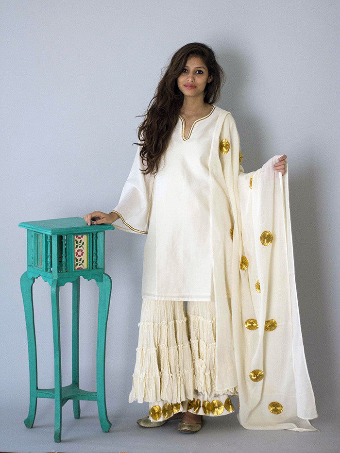 Off White Sharara Set with Dupatta - 3 Piece
