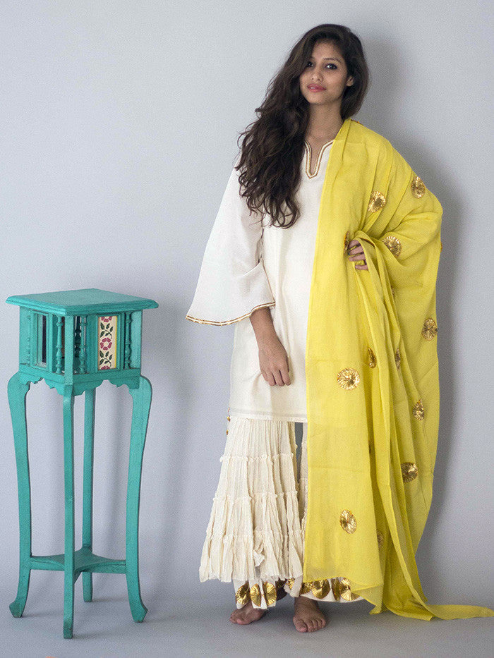 Off White Sharara Set with Yellow Dupatta - 3 Piece