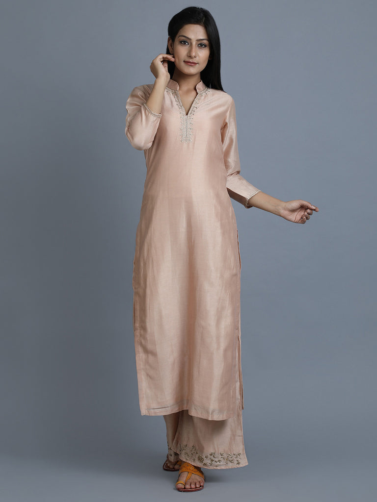 Old Rose Chanderi Embroidered Mandarin Kurta