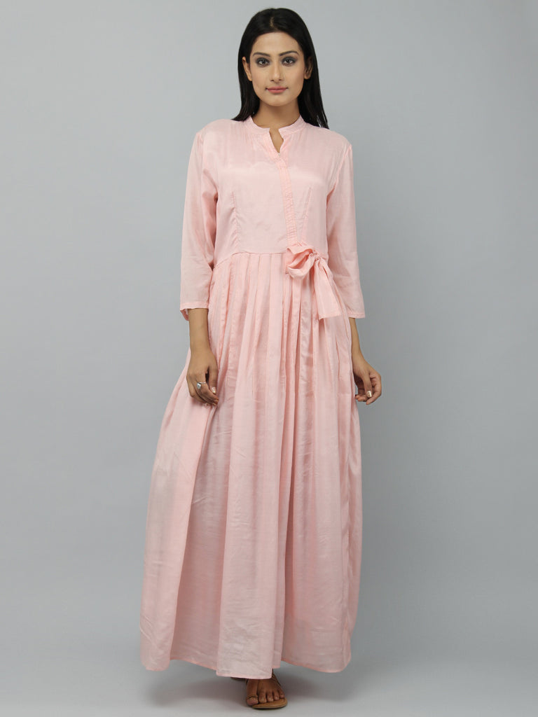 Old Rose Cotton Silk Pleated Maxi Dress