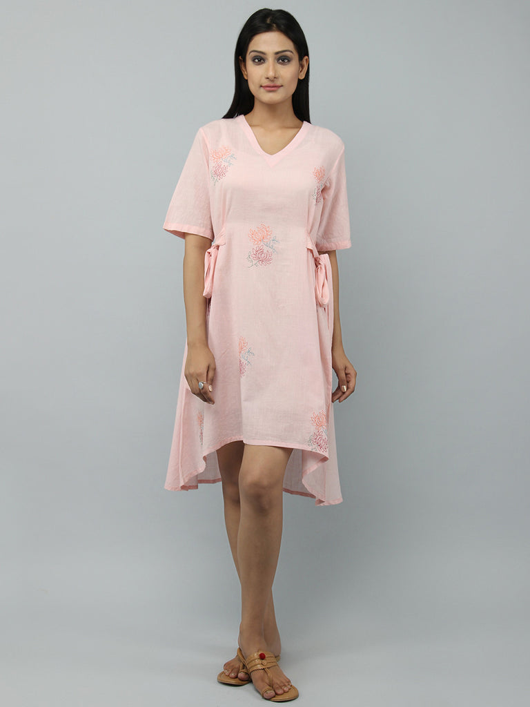 Old Rose Cotton Tie Up Dress