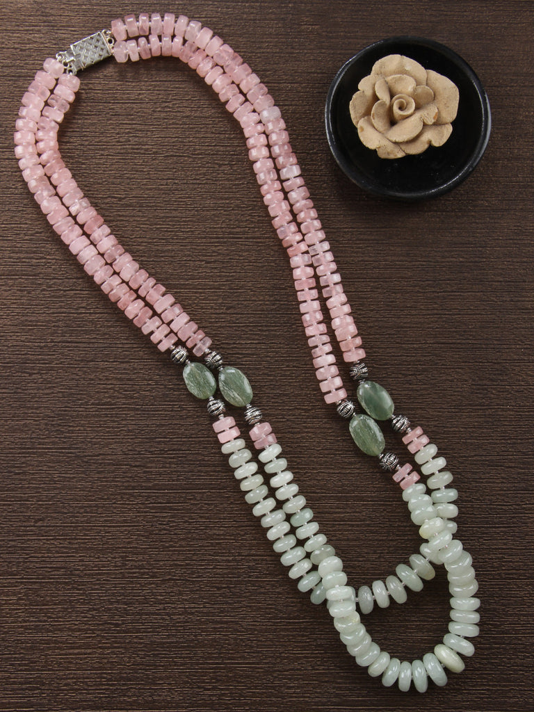 Old Rose Green Quartz and Jade Double Strand Necklace