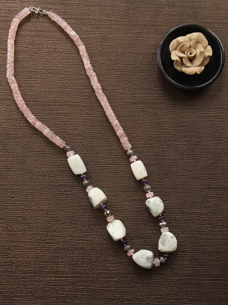 Old Rose Off White Rose Quartz, Moon Stone and Amethyst String Necklace