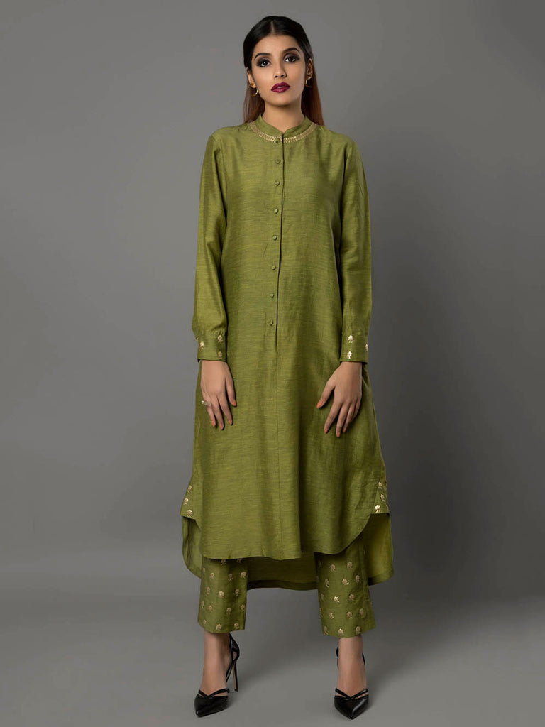 Olive Green Bamberg Linen Tunic with Pants - Set of 2 By Ritu Jain Singh