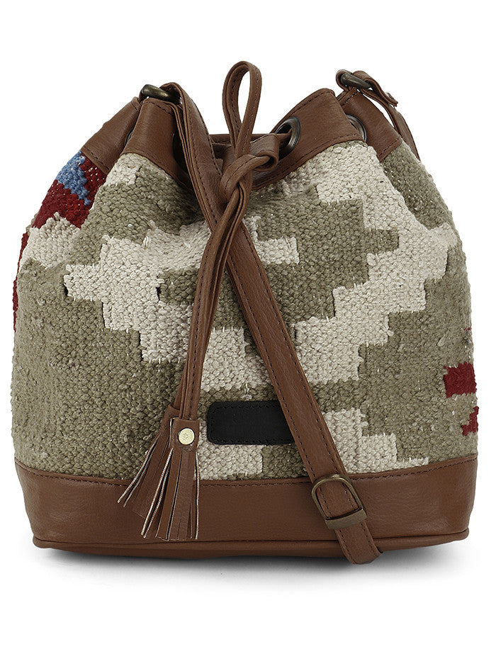 Olive Green Chalk White Kilim Bucket Bag