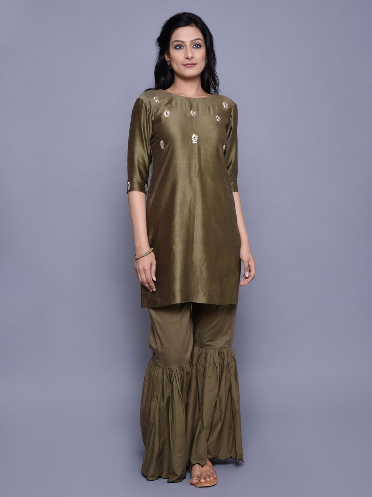 Olive Green Chanderi Embroidered Kurta