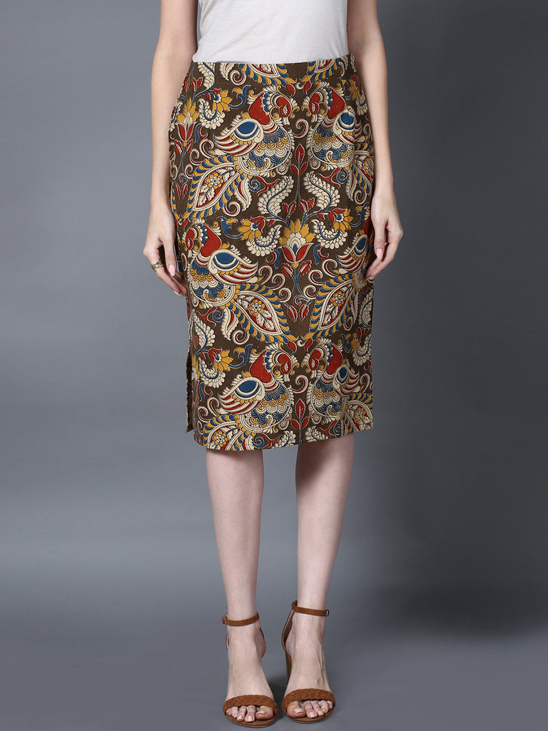 Olive Green Cotton Kalamkari Pencil Skirt