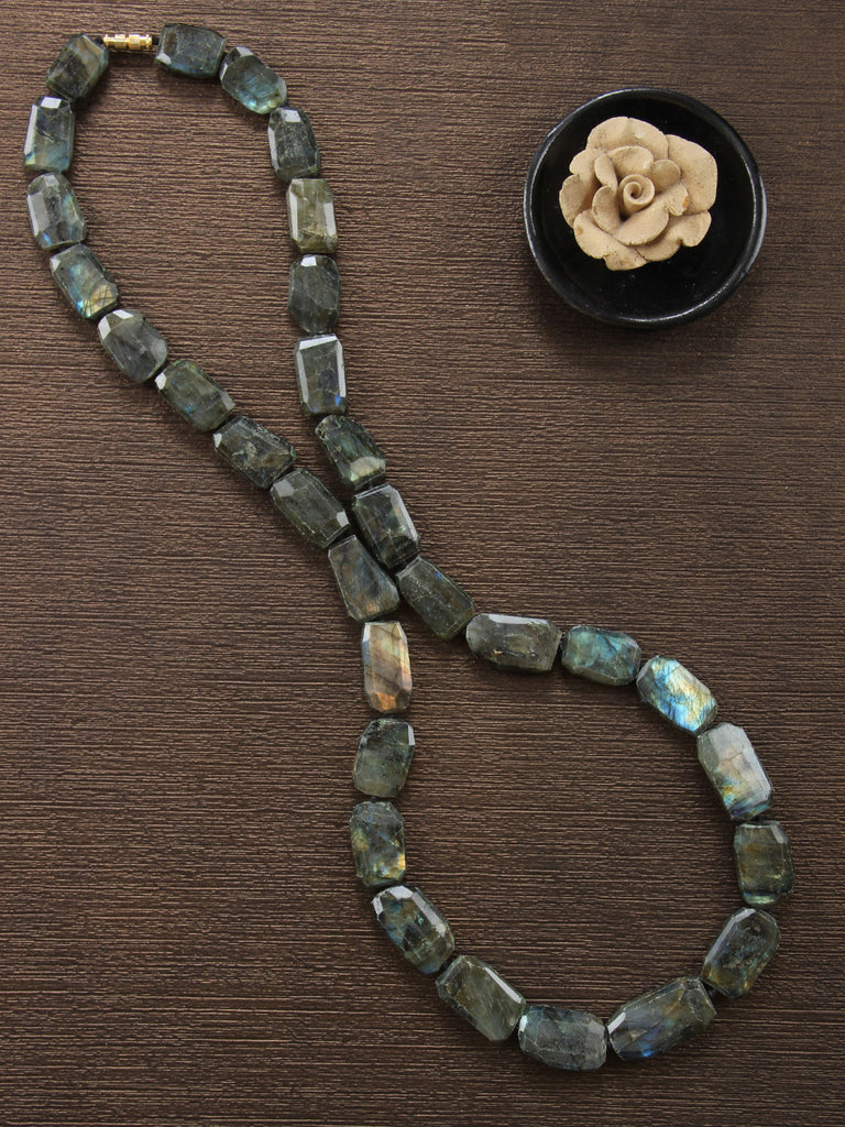 Olive Green Labradorite Tumbles Single Strand Necklace