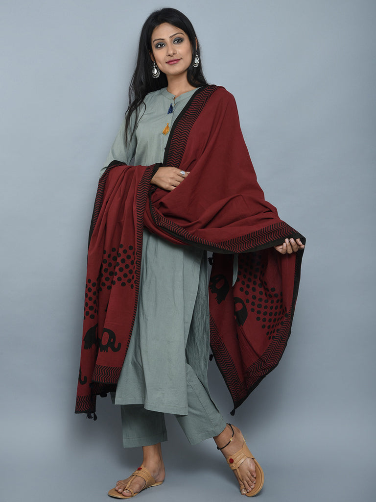 Olive Green Maroon Cotton Kurta and Pants with Block Printed Dupatta- Set of 3